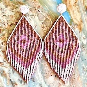 NWT Deepa G. Beaded Diamond Fringe Chandeliers